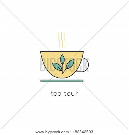 Tea cup vector thin line icon. Isolated symbol. Logo template for restaurant or tasting tour, element for travel agency products, tour brochure, excursion banner. Simple mono linear modern design.