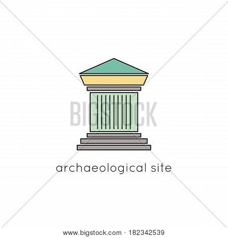 Archaeological site vector thin line icon. Colored isolated symbol. Logo template, element for travel agency products, tour brochure, excursion banner. Simple mono linear modern design.