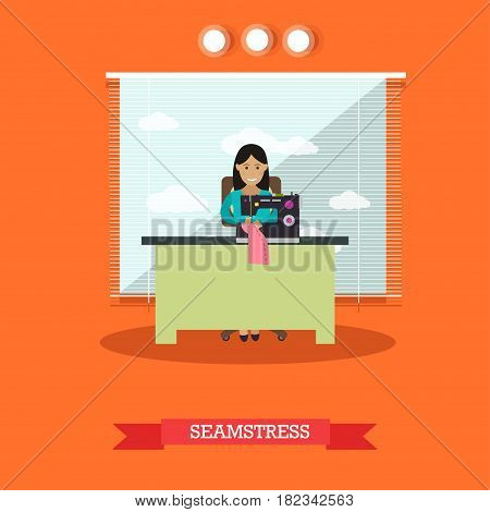 Vector illustration of young woman seamstress sewing on treadle sewing machine. Atelier, tailoring shop, fashion salon concept design element in flat style.