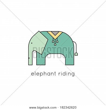 Elephant vector thin line icon. Colored isolated symbol. Logo template for riding tour, element for travel agency products, tour brochure, excursion banner. Simple mono linear modern design.