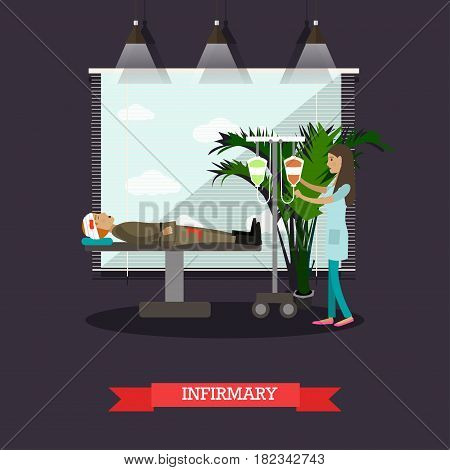 Military hospital concept vector illustration. Wounded soldier and nurse with dropper. Infirmary flat style design element.