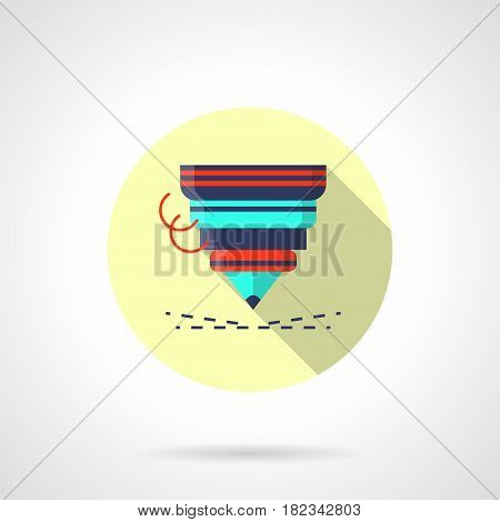 Nozzle of cutting metal laser machine. Modern industrial technology. Round flat design vector icon, long shadow.