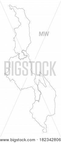 Malawi Outline Silhouette Map Illustration With Regions