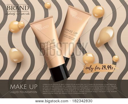 Modern VIP cosmetic ads, make up liquid foundation for sale. Elegant beige and black color face cream tube with drops of cream isolated on wavy stripes background , gloss effect. 3D realistic vector