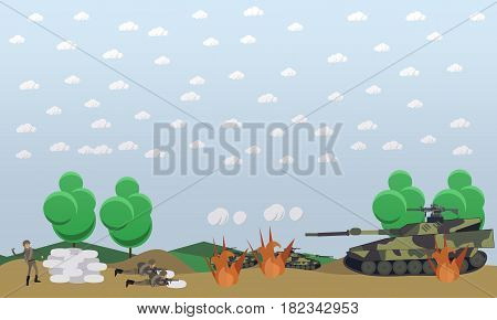 Battlefield concept vector illustration. Military actions at the front flat style design elements.