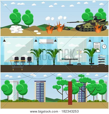 Vector set of military interior posters, banners. Battlefield, Military hospital and army base sports ground flat style design elements.