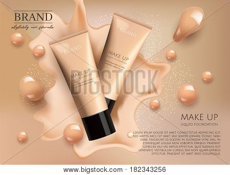 Modern VIP cosmetic ads, make up liquid foundation for sale. Elegant beige and gold color face cream tube with drops of cream isolated on splash  background , gloss effect. 3D realistic vector