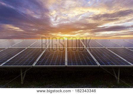 Blue photovoltaic solar panels on ground mounting at twilight Clean energy.