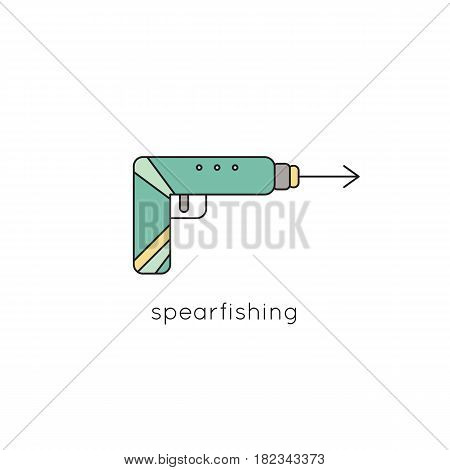 Spearfishing harpoon vector thin line icon. Colored isolated symbol. Logo template for travel agency products, tour brochure, excursion banner. Simple mono linear modern design.