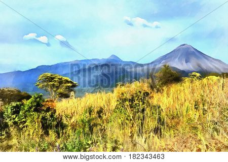 Colorful painting of mountain valley of Colima Volcano, Colima, Mexico