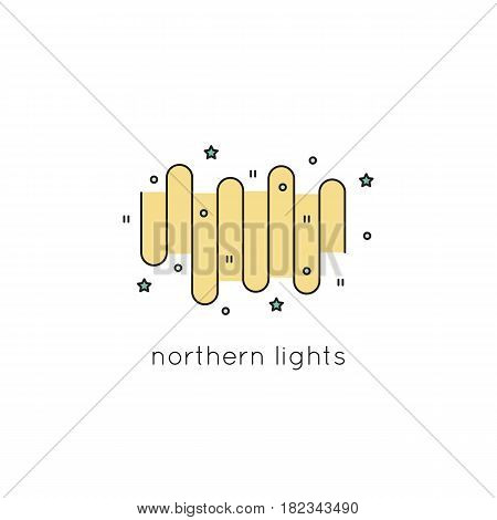 Northern Lights vector thin line icon. Colored isolated symbol. Logo template, element for travel agency products, tour brochure, excursion banner. Simple mono linear modern design.