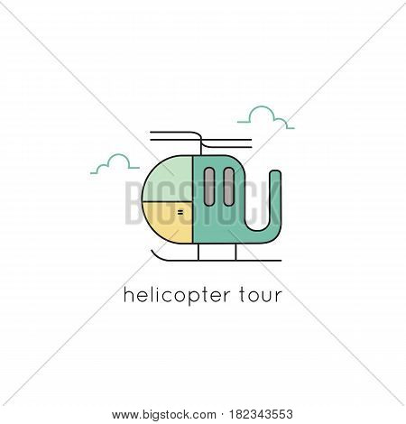 Helicopter vector thin line icon. Colored isolated symbol, chopper. Logo template, element for travel agency products, tour brochure, excursion banner. Simple mono linear modern design.