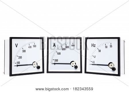 Analog voltmtersammetershertz meter(Hz.) isolated on white background.