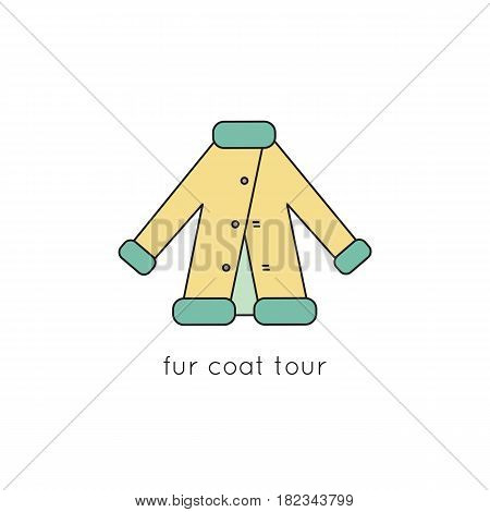 Fur coat vector thin line icon. Colored isolated symbol. Logo template, element for shopping tours and fashion products, stores brochures and banners. Simple mono linear modern design.