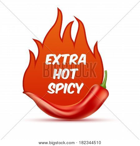 Extra hot and spicy chili paper poster, badge or banner template with fire, isolated on white background.  Fresh and organic food illustration.Vector illustration. EPS 10