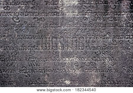 Ancient Sanskrit Text Carved In Stone