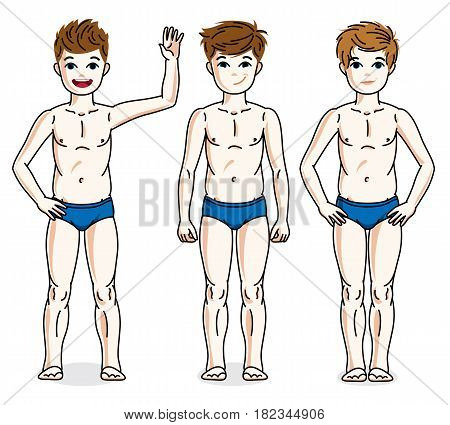 Cute Happy Young Teen Boys Posing In Blue Underwear. Vector Diversity Kids Illustrations Set. Childh
