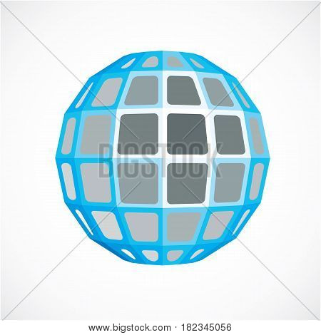 Blue Faceted Orb Created From Squares, Dimensional Vector Sphere. Low Poly Geometric Design Element