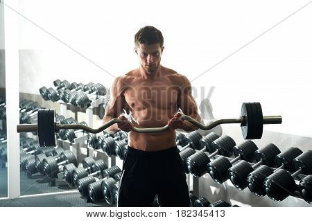 Horizontal shot of a shirtless muscular athletic young man doing biceps curls exercising with EZ curl bar at the gym workout fitness toning bodybuilding muscles sport activity concept.