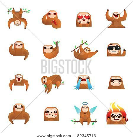 Sloth polygonal big set of flat isolated tree sloth cartoon character emoticons drawn in doodle style vector illustration