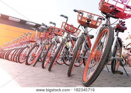 SHANGHAI CHINA, APRIL 2017 : A parking lot of bicycle for sightseeing traveller