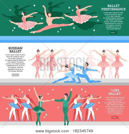 Horizontal flat banners set with ballet performance russian school and lovers of classic dance isolated vector illustration