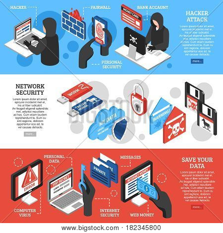 Set of horizontal isometric banners with hacker attacks network security and personal data protection isolated vector illustration