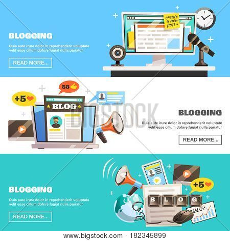 Blogger banners collection with doodle style image compositions and social network icons with read more button vector illustration