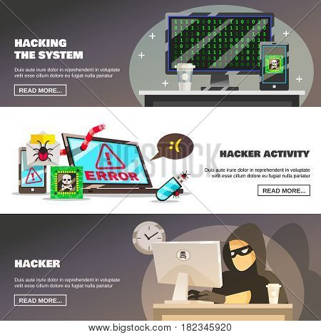 Hacker activity banners collection with flat computer security system damage images text and read more button vector illustration
