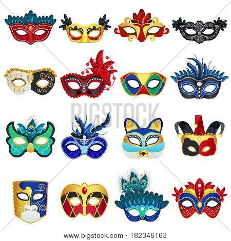 Set of different colorful venetian carnival masks with feathers and clowns hat flat isolated vector illustration