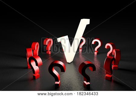 3d illustration white tick mark with red question marks on black