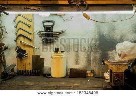 Workbench and old tools in the garage