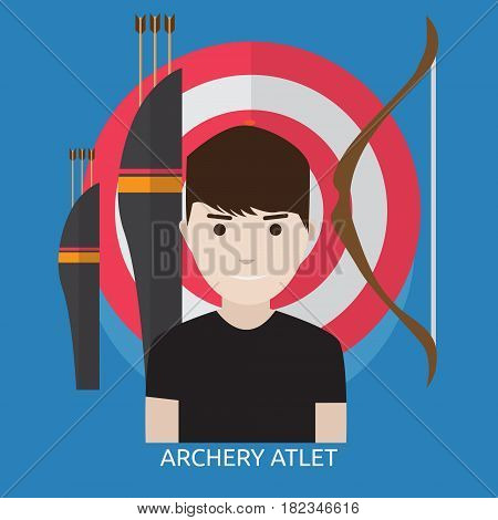 Archery Athlete Conceptual Design | Great flat illustration concept icon and use for human, profession, athlete, work, event and much more.