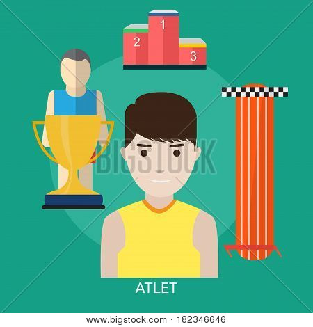 Athlete Conceptual Design | Great flat illustration concept icon and use for human, profession, athlete, work, event and much more.