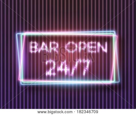 Illustration of Vector Neon Sign. 24 7 Retro Neon Frame. Open 24 Hours Glowing Neon Sign