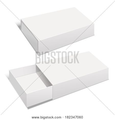 Realistic Template Blank White Package Paper Box Empty Mock Up for Product. Vector illustration