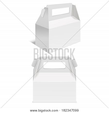Realistic Template Blank White Paper Folding Box Empty Mock Up for Retail. Vector illustration