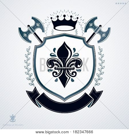 Vintage heraldry design template vector emblem created using hatchets and imperial crown