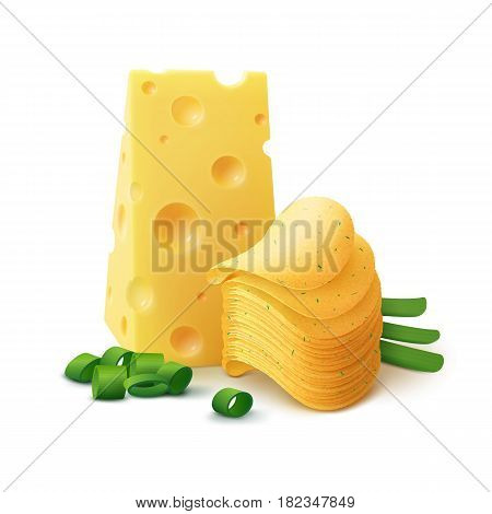 Vector Potato Crispy Chips Stack with Cheese and Onion Close up Isolated on White Background