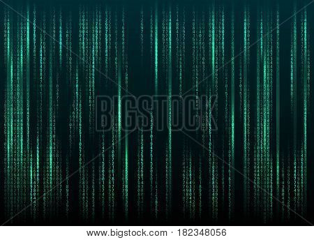 Stream of binary code on screen. Abstract vector background. Data and technology, decryption and encryption, computer matrix background with the blue symbols and numbers. Vector illustration. EPS 10