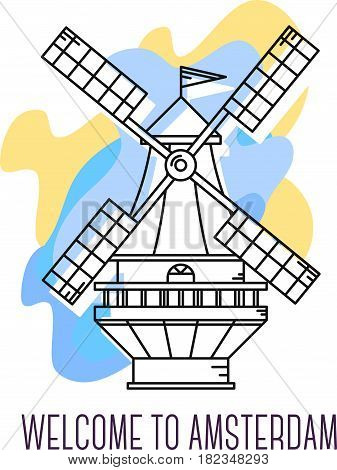 Vector illustration of Windmill the Netherlands. Amsterdam landmark. Symbol of Holland. Sight-seeing of Europe. Thin line art design on abstract blue and yellow background with text for card, web, site, tourist banner