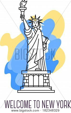 Vector illustration of USA monument Statue. New York landmark full body. American patriotic symbol. Thin line art design on abstract blue and yellow background