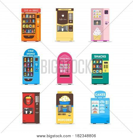 Cartoon Vending Machine Set with Food, Drink, Cakes, Popcorn, Snacks and Ice Cream for Sale Flat Design Style. Vector illustration