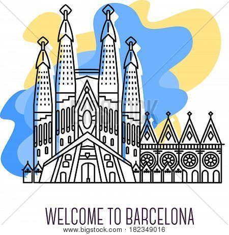 Vector illustration of La Sagrada Familia. Barcelona landmark. Symbol of Spain. Sight-seeing of Europe. Thin line art design of Temple of the Holy Family on abstract blue and yellow background with text for card, web, site, tourist banner
