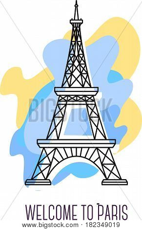 Vector illustration of Eiffel Tower. Paris landmark. Symbol of France. Sight-seeing of Europe. Thin line art design on abstract blue and yellow background with text for card, web, site, tourist banner
