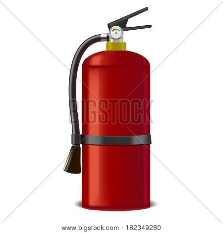 Realistic Detailed Red Extinguisher or Quencher Isolated on a White Background Symbol of Fire Protection. Vector illustration