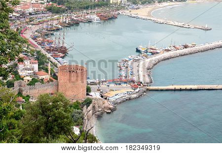 Ancient Red Tower Kizil Kule in the port of Alanya