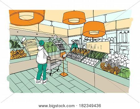 Supermarket interior hand drawn colorful illustration. Grocery store, vegetable department