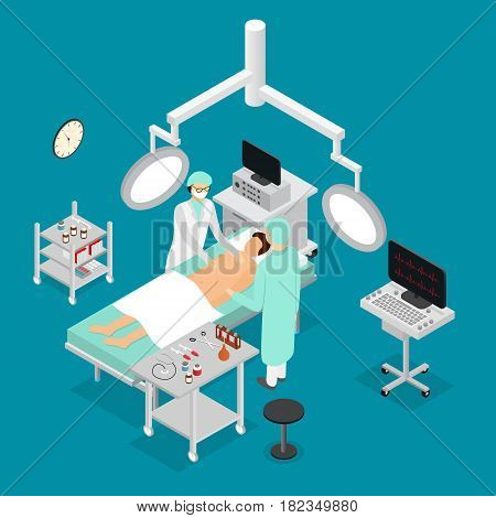 Patient, Nurse and Doctor in Surgery Operating Room Interior of Clinic Isometric View. Vector illustration