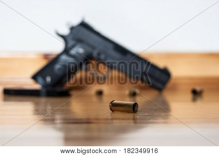 Gun On The Floor, Crime, The Shell Of The Bullets Next To The Gun, Robbery, Murder, Crime, Mafia, Cr